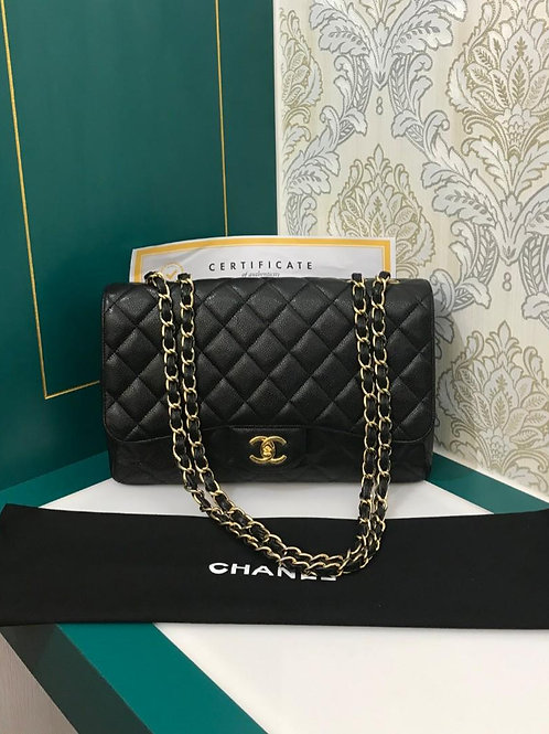 #13 Excellent Chanel Jumbo Classic Single Flap Black Caviar with GHW