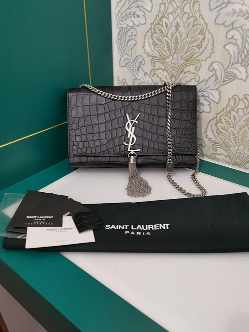 Like New YSL WOC Kate Tassel in Embossed Crocodile Black with SHW