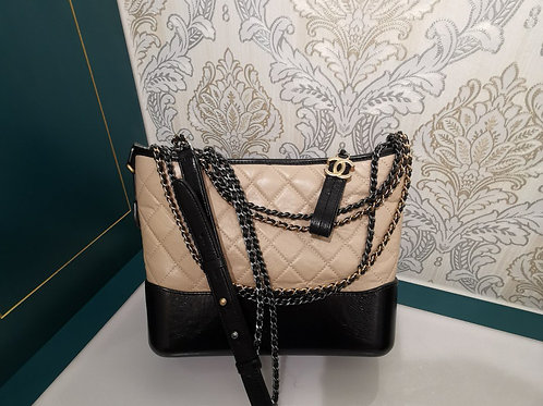 BNIB Chanel Gabrielle Hobo Beige/Black with 3 HW
