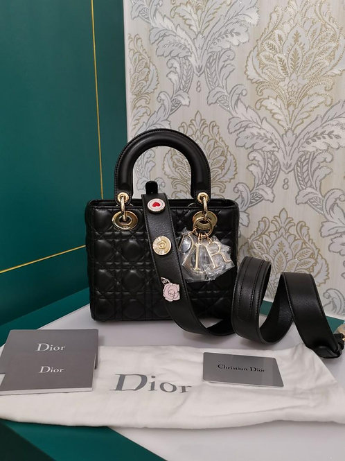 Brand New My Lady Dior Small Black Lamb with light GHW