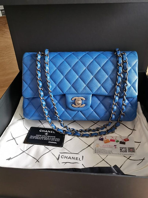 #22 Like New Chanel Medium Classic Flap Blue Caviar with RHW