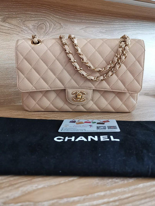 #14 Like New Chanel Medium Classic Double Flap Beige Caviar with GHW