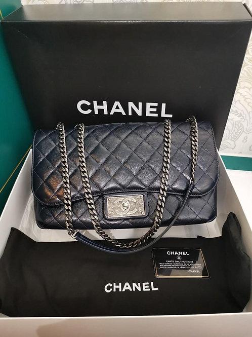 #21 Chanel Flap Jumbo Single Flap Distressed Calf Dark Navy RHW