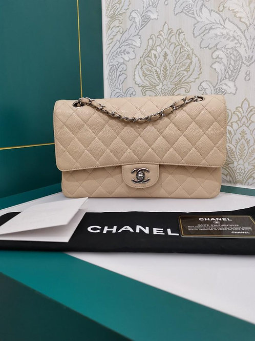 #13 Excellent Chanel Medium Classic Double Flap Beige Caviar with SHW