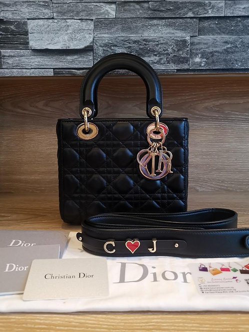 Like New Lady Dior Small My ABC Dior Black Lamb with GHW
