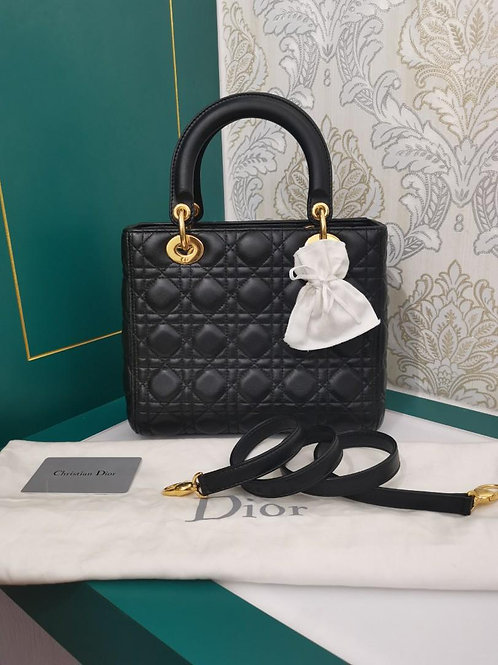 Almost New Lady Dior Black Medium Lamb GHW