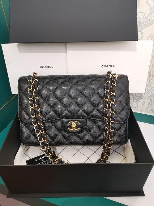 #23 LNIB Chanel Jumbo Classic Double Flap Black Caviar GHW
