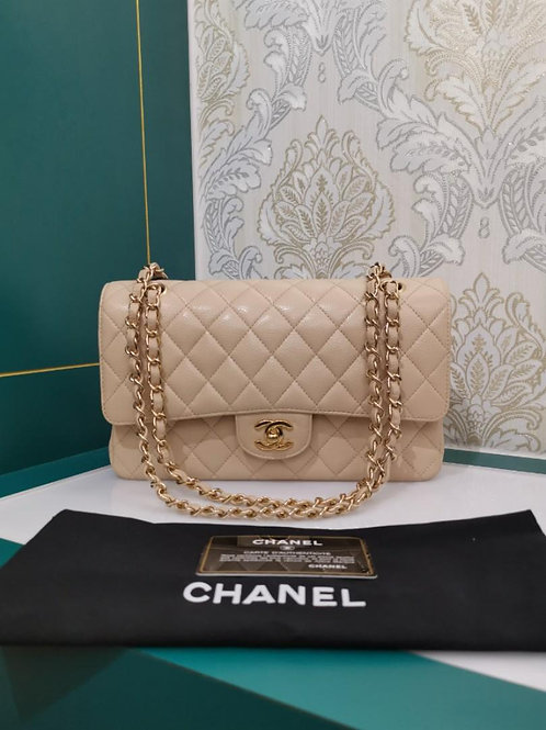 #14 Almost New Chanel Classic Double Flap Medium Beige Caviar with GHW
