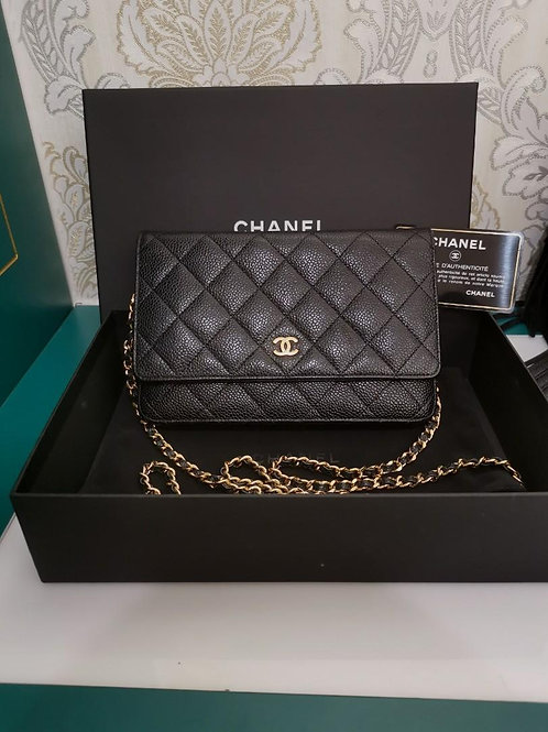 #20 LNIB Chanel WOC Black Caviar with GHW