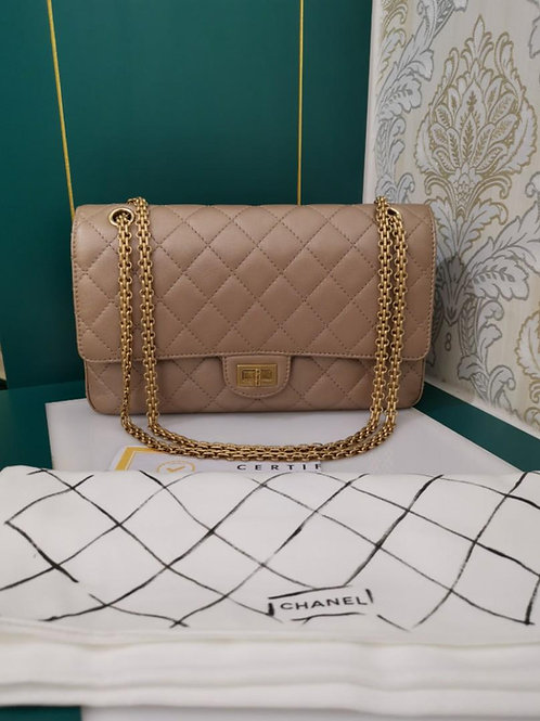 #24 Almost New Chanel Reissue 2.55 226 Iridescent Calf Gold with GHW