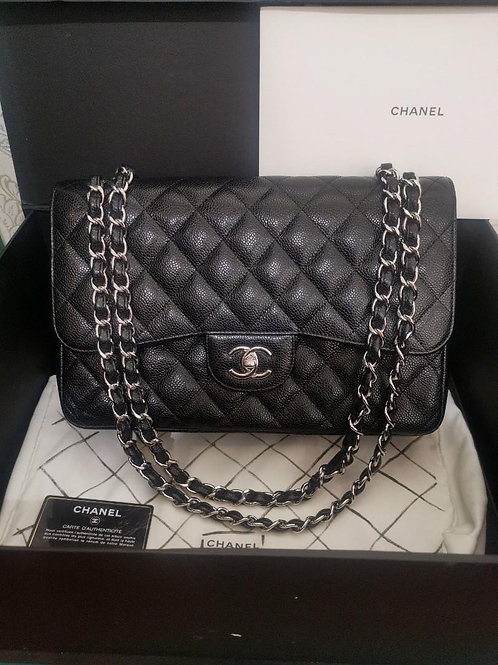 #24 LNIB Chanel Jumbo Classic Double Flap Black Caviar with SHW