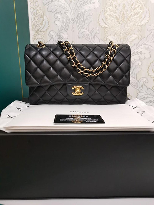 #26 LNIB Chanel Medium Classic Double Flap Black Lamb with GHW