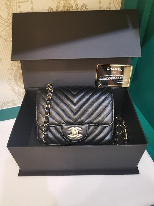 #26 BNIB Chanel Mini Square Classic Flap Black Lamb GHW