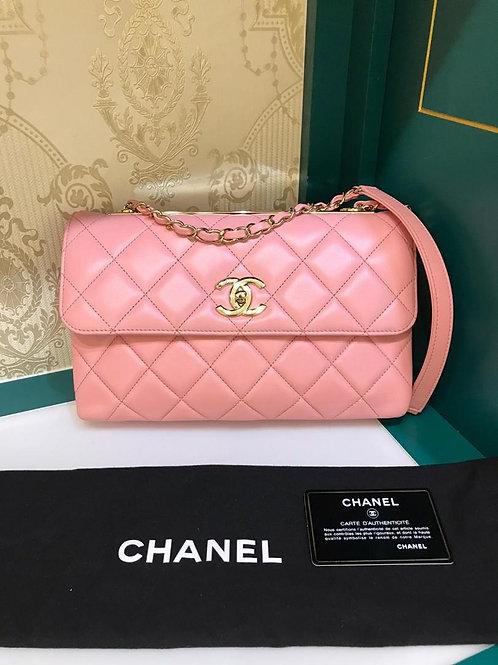 #27 Like New Chanel Trendy CC Shoulder Flap Pink Lamb Light GHW