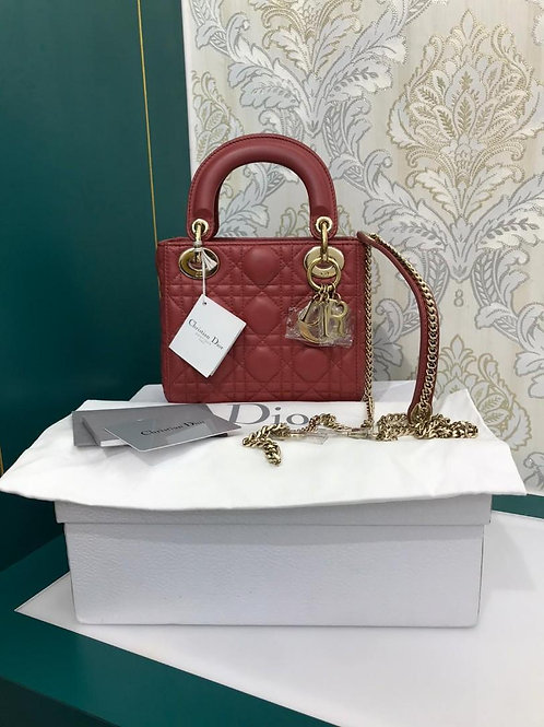 BNIB Lady Dior Mini Terre De Si Lambskin with GHW