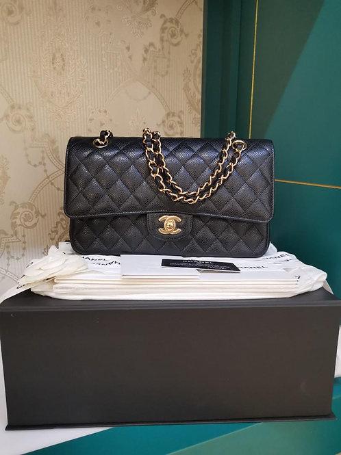 #28 BNIB Chanel Classic Double Flap Medium Black Caviar GHW