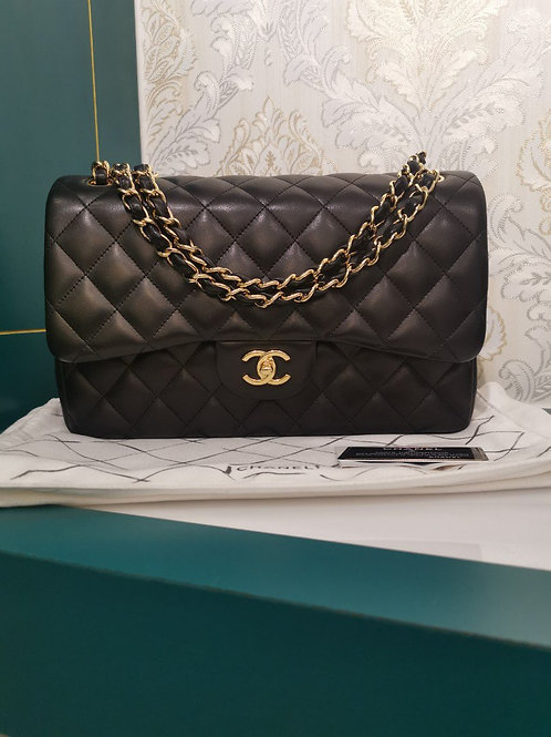 Brand New Chanel Jumbo Calssic Double Flap Black Lamb with GHW