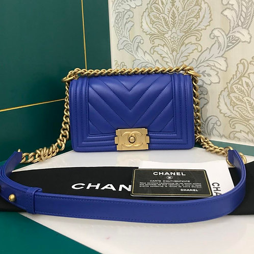 #27 Brand New Chanel Boy Small Blue Calf with GHW