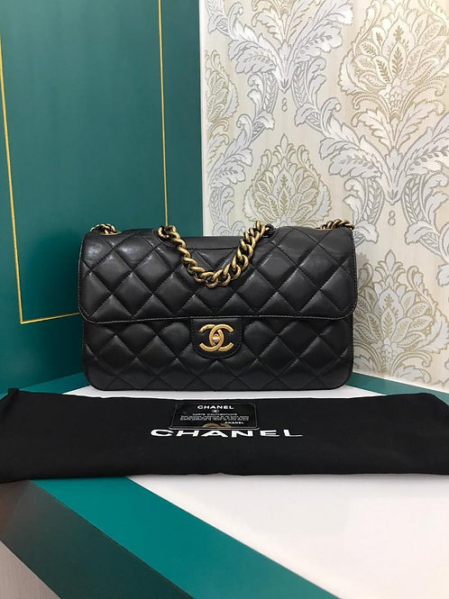#16 Chanel Perfect Edge Large/Jumbo Black Calf with aged GHW