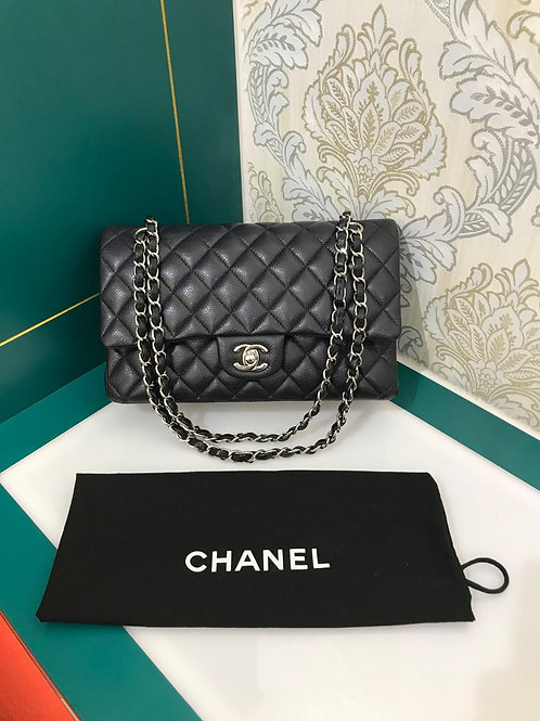 #18 Like New Chanel Medium Classic Double Flap Navy Caviar with SHW
