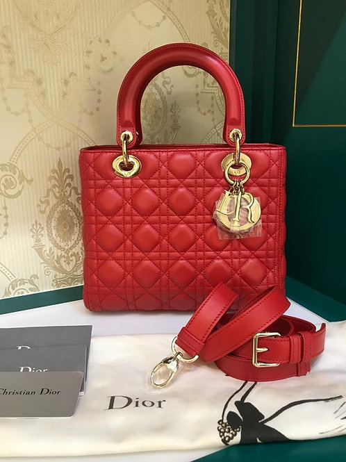 Brand New Lady Dior Red Medium Lamb GHW