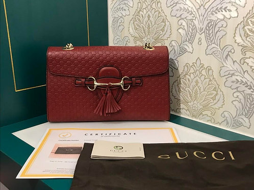 Gucci Emily Shoulder Bag Signature Calf Red with GHW