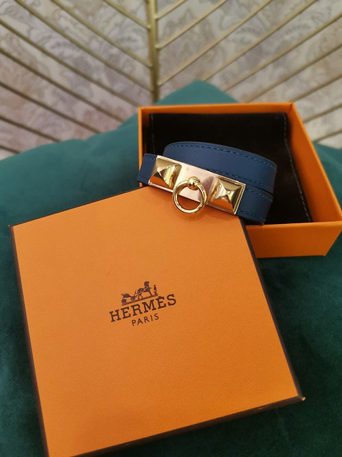 LNIB Hermes Rivale Double Tour Bracelet Swift leather GHW