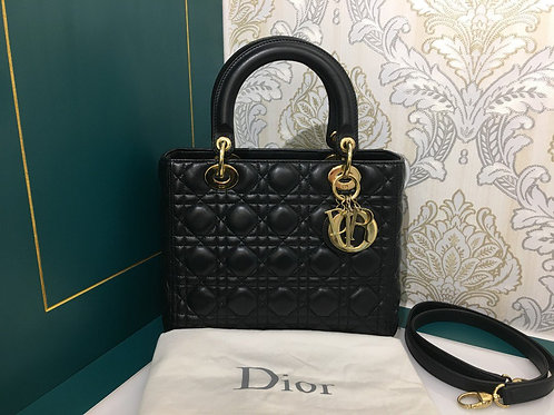 Lady Dior Medium Black Lambskin With GHW