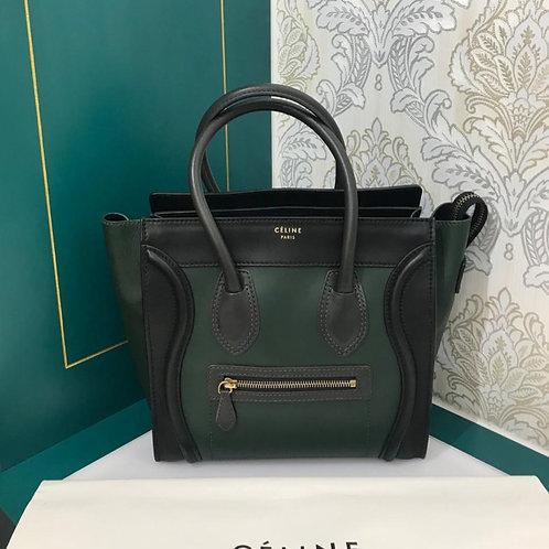 Excellent Celine Luggage Micro Tricolor(Green-Black-Grey) Calf