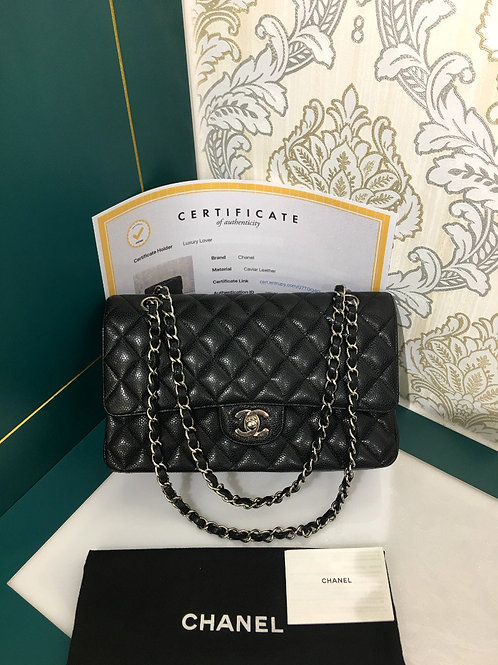 Like New Chanel Medium Classic Flap Black Caviar with SHW