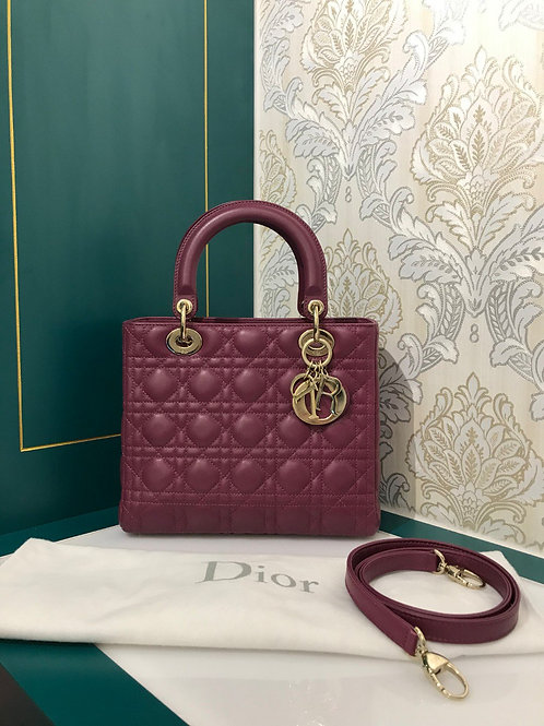 Like New Lady Dior Medium Wine red/purple wine lamb with GHW