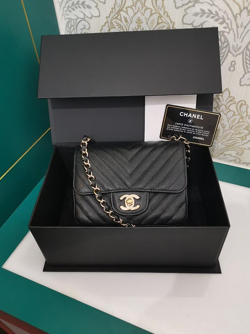 #26 LNIB Chanel Mini Square Chevron Caviar Black w Light GHW