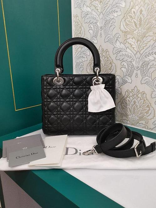 Almost New Lady Dior Medium Black Lamb SHW