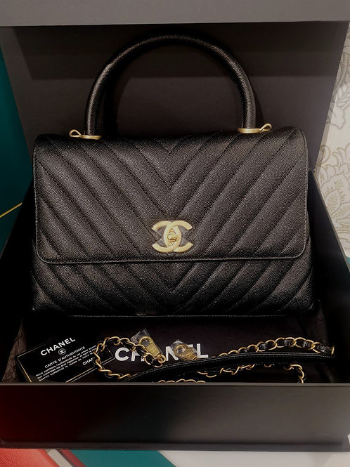 #26 BNIB Chanel Coco Handle Chevron Medium Black Caviar with GHW