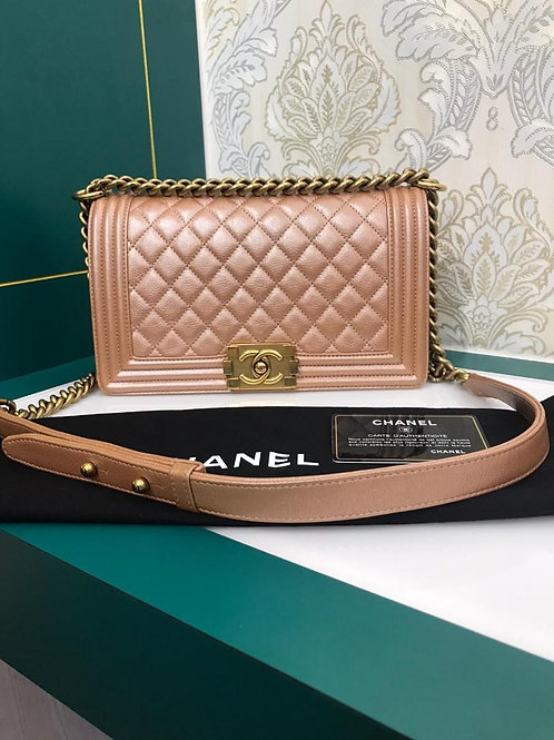 Like New Chanel Boy Old Medium Pearly Pink Calf aged GHW