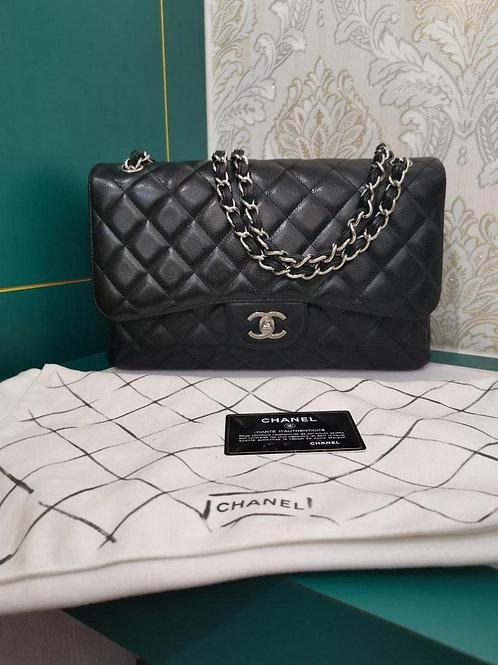 #14 Chanel Jumbo Classic Double Flap Black Caviar SHW