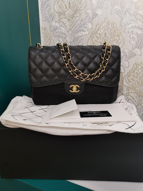 #27 BNIB Chanel Jumbo Classic Double Flap Black Caviar with GHW