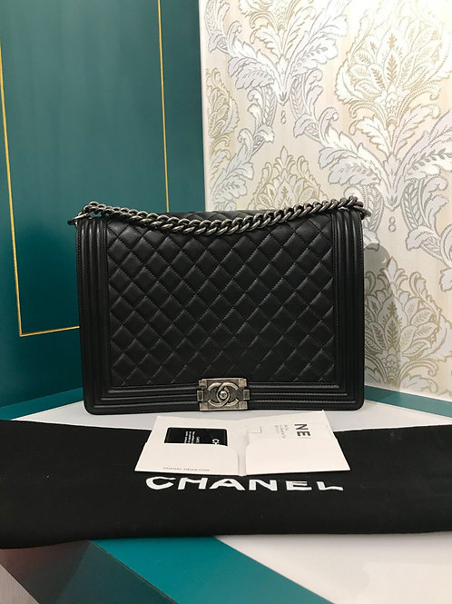 #18 Almost New Chanel Boy Large Black Lamb with RHW