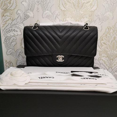 #25 BNIB Chanel Classic Double Flap Medium Caviar Black with SHW