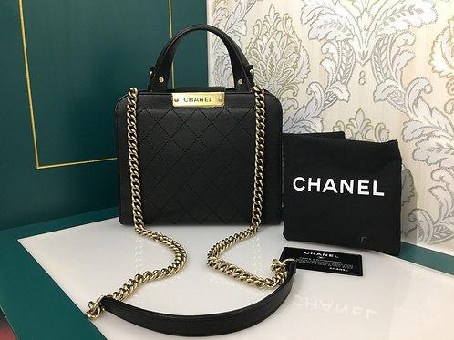 #23 Like New Chanel Case Handbag Black Calfskin with GHW