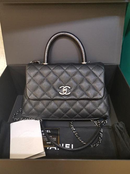 #23 LNIB Chanel Coco Handle Small Caviar Real lizard handle RHW