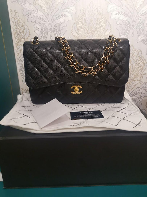 #24 Like New Chanel Jumbo Classic Double Flap Black Caviar with GHW