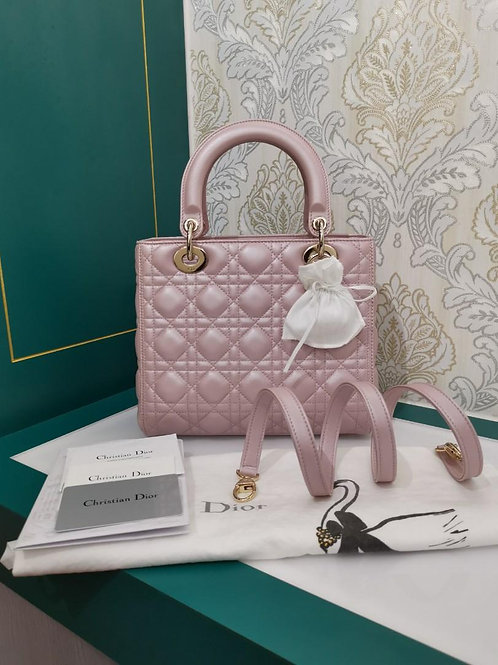 Brand New Lady Dior Medium Pearly Pink Lamb with GHW