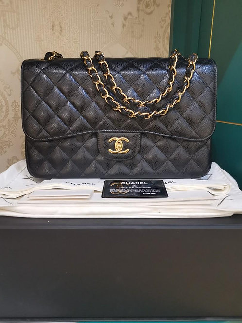 #19 Excellent Chanel Jumbo Classic Double Flap Black Caviar GHW