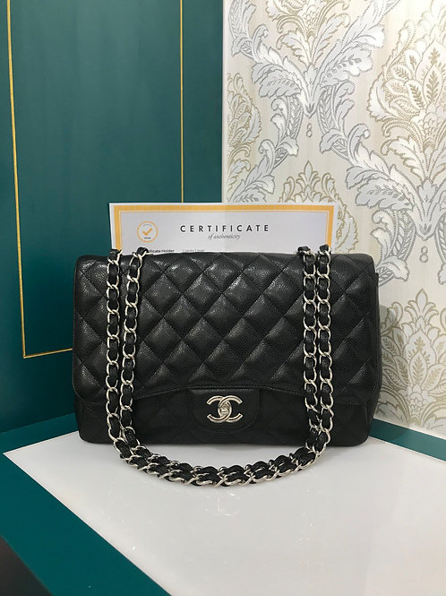 Superb Deal✨Chanel Jumbo Classic Single Flap Black Caviar with SHW