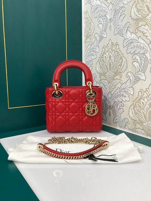 Like New Lady Dior Mini Chain Strap Red Lambskin with GHW