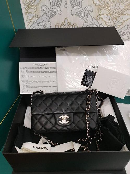 #30 BNIB Chanel Mini Rectangular Black Lamb Light GHW