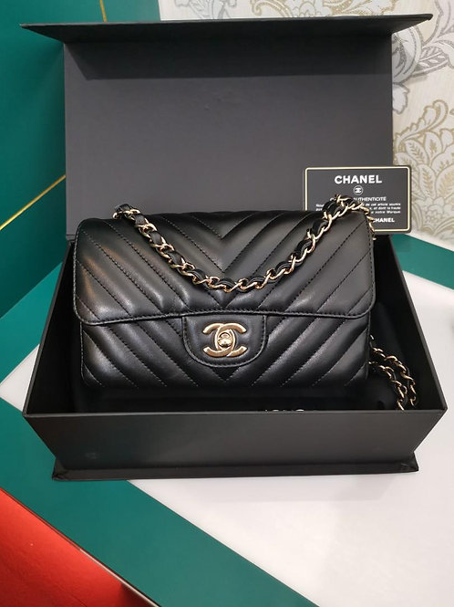 #26 LNIB Chanel Mini Rectangular Chevron Black Lamb Light GHW