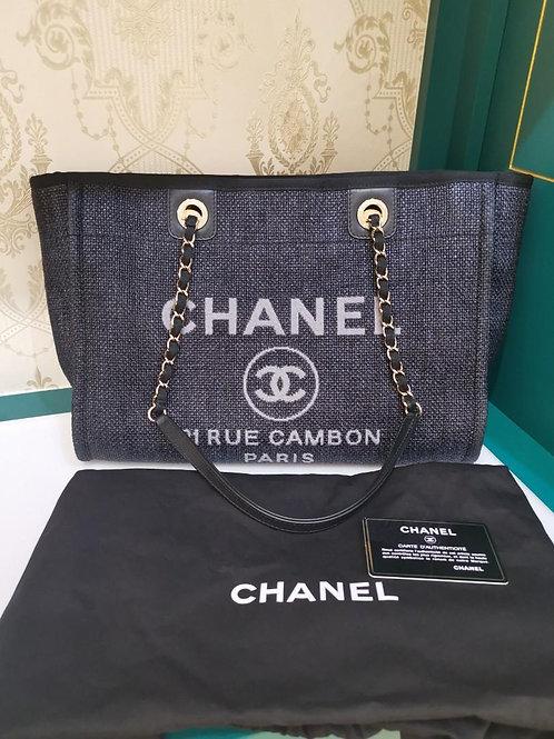 #26 Like New Chanel Deauville Tote Dark Demin GHW