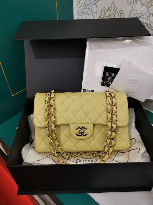 #29 BNIB Chanel Small Classic Double Flap Yellow Caviar light GHW